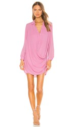Krisa Drape Button Front Mini In Pink. Rosette