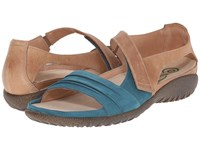 Naot Footwear Papaki Teal Nubuck Latte Brown Leather Women's Shoes Blue