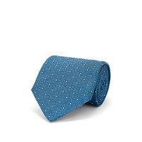 Cifonelli Pin Dot And Geometric Floral Silk Jacquard Necktie Turquoise