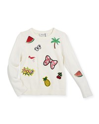 Milly Minis Patches Pullover Sweater Size 8 14 White