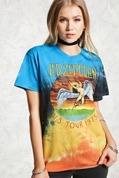 Forever 21 Led Zeppelin Tie Dye Band Tee Blue Yellow
