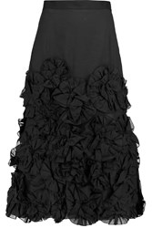 Jonathan Saunders Winona Appliqued Cotton Midi Skirt Black