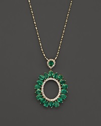 Bloomingdale's Emerald And Diamond Pendant Necklace In 14K Yellow Gold 18 Green Gold