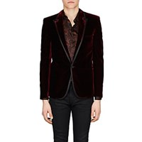 Saint Laurent Velvet One Button Tuxedo Jacket Red