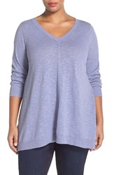 Plus Size Women's Eileen Fisher Organic Linen And Cotton V Neck Knit Tunic Aster