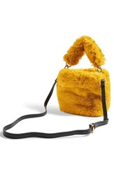 Topshop Teddy Faux Fur Bucket Bag Yellow Mustard