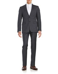 Calvin Klein Textured Two Button Wool Suit Set Grey