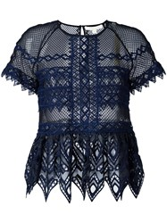 Jonathan Simkhai Cut Off Detailing Sheer Blouse Blue