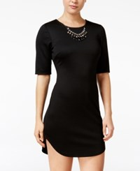As U Wish Juniors' Bodycon Dress With Necklace Black