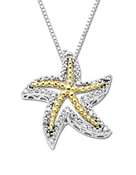 Lord And Taylor Diamond Starfish Pendant In Sterling Silver With 14K Yellow Gold Silver Gold