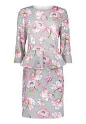 Betty And Co. Floral Print Peplum Dress Multi Coloured Multi Coloured