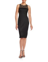 Jessica Simpson Embellished Lace Sheath Black