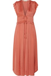 Ulla Johnson Kaiya Plisse Satin Midi Dress Antique Rose
