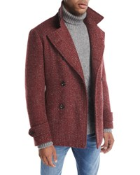 Isaia Donegal Double Breasted Wool Mohair Pea Coat Red