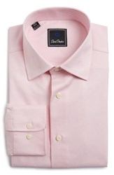 David Donahue Men's Big And Tall Regular Fit Houndstooth Dress Shirt Pink
