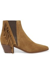 Saint Laurent Fringed Suede Ankle Boots Tan