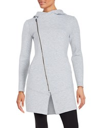 Betsey Johnson Asymmetrical Zip Front Jacket Light Grey