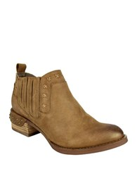 Naughty Monkey Miss M Nailhead Leather Booties Tan