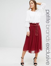 John Zack Petite Tulle Midi Skirt With Frill Waist Band Berry Red