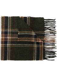 Barbour Checked Scarf Green