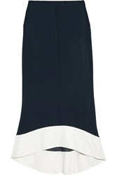 Vionnet Satin Trimmed Silk Blend Chiffon Midi Skirt Blue