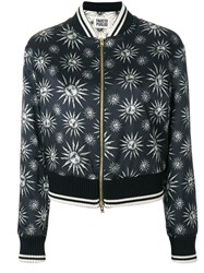 Fausto Puglisi Sun Print Bomber Jacket Polyester Viscose Wool Black