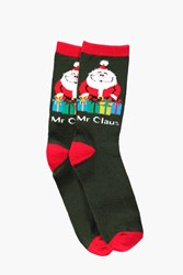 Boohoo Novelty Santa Christmas Socks Multi