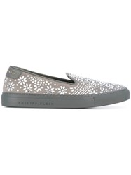 Philipp Plein Mingan Sneakers Women Leather Rubber 37 Grey