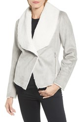 Kenneth Cole New York Short Faux Shearling Jacket Stone