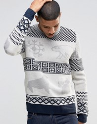 Bellfield Christmas Knitted Jumper With Polar Bear Jacquard Ecru White