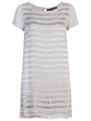 French Connection Della Fringe Short Sleeve Tunic Dress Freeway Grey