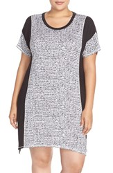 Plus Size Women's Dkny Short Sleeve Colorblock Jersey Chemise