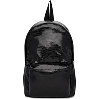 Comme Des Garcons Black Small Croc Faux Leather Backpack