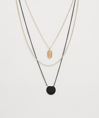 Bershka 3 Pack Necklace Set In Black And Gold