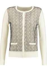 Carven Lace Paneled Wool Cardigan