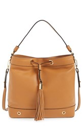 Milly 'Astor' Tassel Leather Hobo Brown Caramel