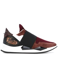 Givenchy Colour Block Trainers Women Leather Rubber 38 Red