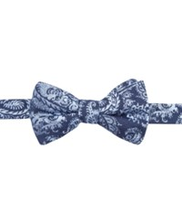 Ryan Seacrest Distinction Men's Brookshire Paisley Pre Tied Bow Tie Only At Macy's Navy White