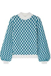Stine Goya Carlo Two Tone Cable Knit Wool Blend Sweater Sky Blue