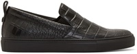 Christopher Kane Black Digi Croc Slip On Sneakers