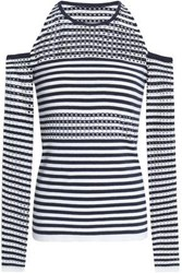 Bailey 44 Stadium Cold Shoulder Striped Pointelle Knit Sweater Storm Blue