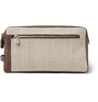 Brunello Cucinelli Canvas And Leather Wash Bag Tan
