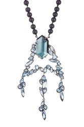 Alexis Bittar Miss Havisham Cluster Pendant Black Onyx Bead Necklace Blue