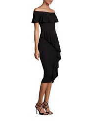 Rickie Freeman For Teri Jon Off The Shoulder Ruffle Dress Black