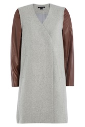 Theory Wool Coat With Leather Sleeves Grey