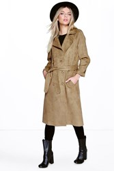 Boohoo Bonded Suedette Trench Olive