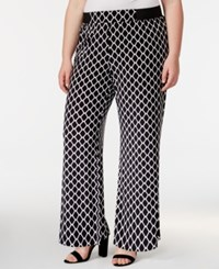 Inc International Concepts Plus Size Diamond Print Wide Leg Pants Only At Macy's Red Geo Print