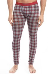 Boss Men's '24' Plaid Stretch Cotton Long Johns Red