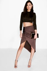 Boohoo Asymetric Rouched Front Midi Skirt Bronze
