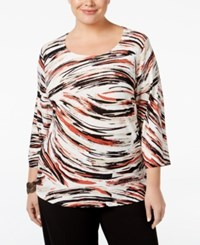 Jm Collection Plus Size Printed Jacquard Top Only At Macy's Red Windswept